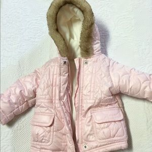 Old Navy Pearly Pink Puffer Coat Size 6-12 Months